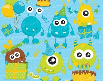 80% OFF SALE Birthday monster boys, clipart commercial use, vector graphics, digital clip art, digital images - CL655