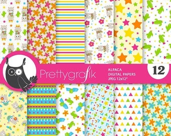 80% OFF SALE Party llamas digital papers, commercial use, scrapbook papers, background - PS865