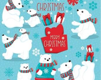 80% OFF SALE Polar bears clipart commercial use, christmas bear vector graphics, christmas digital clip art, polar bear images - CL1048