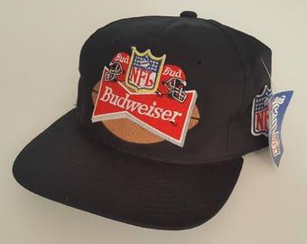 Vintage Budweiser X NFL Deadstock Snapback Hat VTG