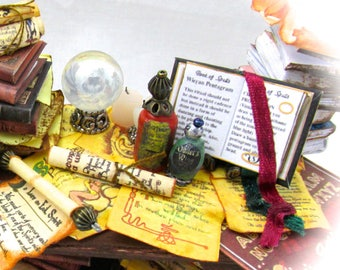 1:12 Miniature Dollhouse MAGIC Book Of SPELLS Book PDF and Tutorial Printie Printable Download Dollhouse Scale Book Miniature Accessory
