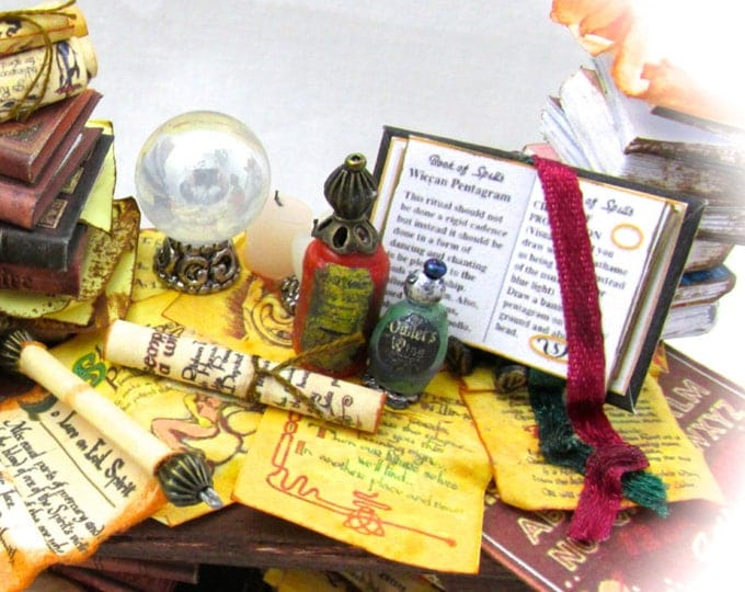 MAGIC Book Of SPELLS Book PDF Tutorial Printie Printable Download 1:12 Miniature Dollhouse Scale Book Miniature Accessory Witch