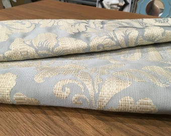 Spa Blue and Gold textured Damask Fabric Remnant