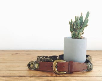 Southwestern Leather and Metal Concho Belt