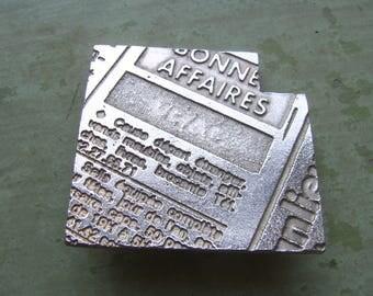 A Vintage French Brooch/Pin - 'Biche Bere' Brand - Costume/Couture Jewellery - Typographic - Silver Tone - Circa 1990's.
