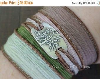 4th of July Sale Silk Ribbon Wrap Bracelet Tree of Life Fine Silver Yoga Bracelet Earthy Bracelet Eco Jewelry Boho Bracelet Hand Dyed Silk