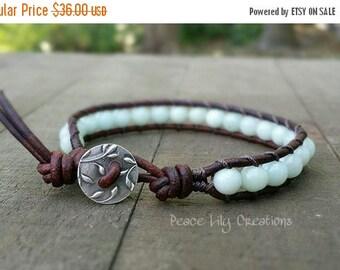 25% Off amazonite single leather wrap bracelet fine silver leafy button earthy bracelet boho bracelet spring bracelet leaf bracelet