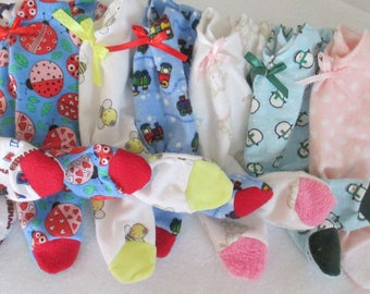 """Doll Clothes Fuzzy Feet Footed Sleepers U-PIC 12-13"""" Bugs Trains Fire truck Butterflies Boy Girl Doll"""