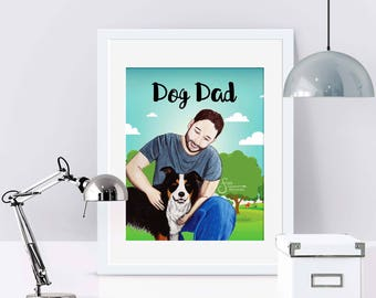 Dog Dad Inspirational Art Print of Man & Border Collie for Father's Day or New Dog Adoptions. Printed from whimsical drawing.