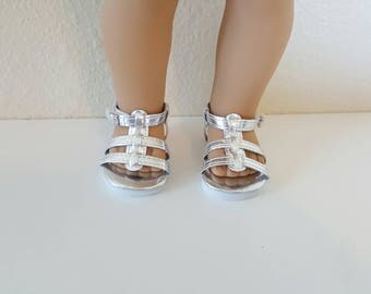 Silver Gladiator sandals  for 18 inch dolls by The Glam Doll - Fits American Girl
