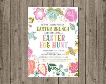 Easter Egg Hunt Invitation - Easter Brunch Invite - Easter Party Invitation - 5x7 JPG DIGITAL FILE