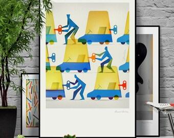 Teamwork. Signed illustration art poster giclée print.