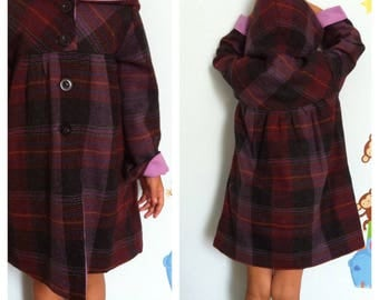 coats lightweight wool handmade chess girl double lining cotton solid color lilac with