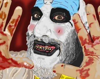 Captain Spaulding House of 1000 Corpses Sid Haig Actor Digital Artwork Portrait A6 Artist Trading Card