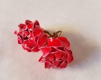 Vintage Red Flower Clip on Earrings