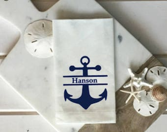 Custom Anchor Napkins Personalized Nautical linen napkin white and navy blue Nautical Decor Outdoor Entertaining wedding gift hostess gift