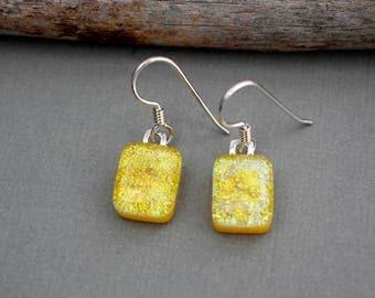Sterling Silver Earrings - Yellow Earrings For Women - Birthday Gift For Women - Yellow Jewelry For Her - Dichroic Glass Earrings