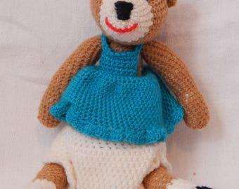 Blue dress with crochet Teddy bear