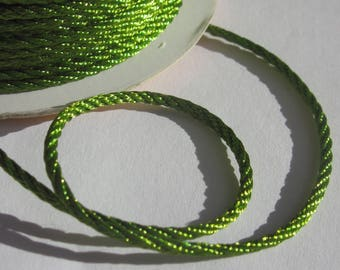 1 m braided color green soft and shiny 2 mm (20)