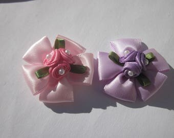 2 large Pearl 3.5 cm approx (A248) fabric bows