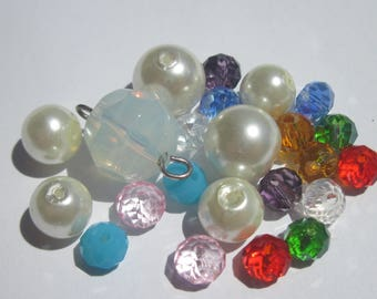 23 round beads smooth multicolored glass and faceted (PV3-11)