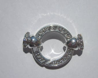 large clasp in metal and rhinestones with attachment 21mm - (2046)