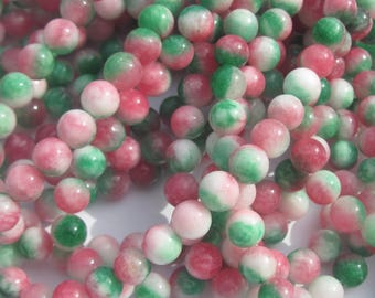 8 trendy Pink 8 mm (2-28 agate mixed color agate beads