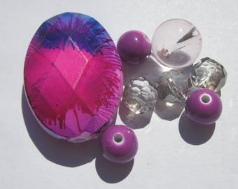 8 round glass beads and acrylic 10 37 (PV28-5 mm