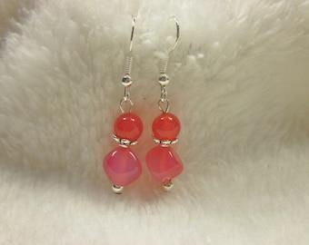 agate and metal (O58) beads earrings