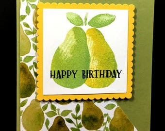 Happy Birthday Greeting Card, Pears, Green, Yellow Pear Patterned Paper