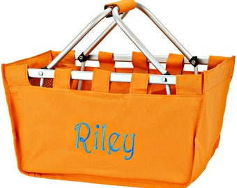 Monogrammed Orange Beach Bag Orange Canvas Drawstring Bag