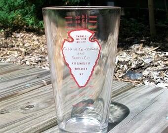 Vintage Genesee Glassware And Supply Co Buffalo NY Advertising Barware Measuring Mixing Glass Arrowhead
