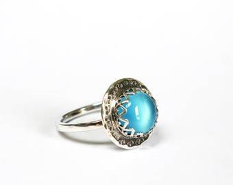Ocean Blue Chalcedony Gemstone  Cabochon Ring Handmade in Sterling Silver. Bezel Set Blue Gemstone. Ring Rings Gemstone Jewellery