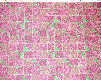 DOG DAYS Preppy Pink Green Lilly Pulitzer Carry On Patch Fabric 59x36