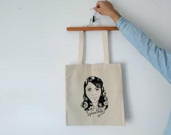 Tote Bag - Screenprint Over Cotton Canvas Tote Bag Sylvia Plath