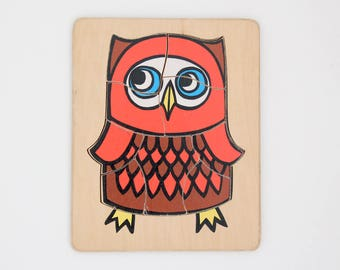 Vintage wooden jigsaw puzzle in owl design 1970s
