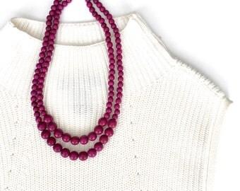 purple necklace / purple beaded necklace / plum necklace / purple bridesmaid necklace / purple statement necklace / dark purple beads
