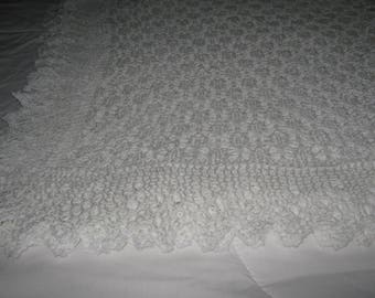 New Large Handmade Knitted Lacey White Baby Shawl