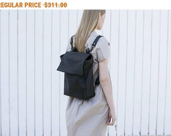 Sale, Black Leather Zipper Tote, Laptop Leather Purse, Shoulder Leather Bag Backpack, Women Work Bag, Hand Made Bag