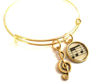 G Clef Music Adjustable Bangle Bracelet Charm Vintage Sheet Music Recycled Paper Repurposed Upcycled Materials Expandable Jewelry OOAK Art
