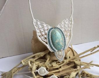 Macrame necklace, larimar, jewelry, gemstone pendant, white macrame, crochet necklace