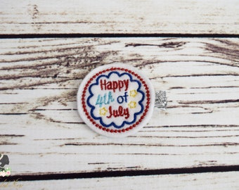 Handcrafted Happy 4th of July Feltie Clip - Baby Girl Bows - Independence Day Hair Accessory - Stocking Stuffer - Red White and Blue Bows