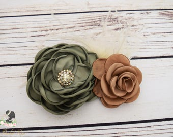 Handcrafted Big Fall Rose Hair Clip - Vintage Jewelry Hair Clip - Fall Hair Accessory - Olive Green Caramel and Pale Yellow - Adult Barrette