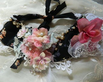 Victorian delicate floral necklacebeaded and embroidered, orchids