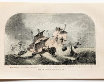 1857 Battle at Grenada French British Fleet Engraved Lithograph ORIGINAL