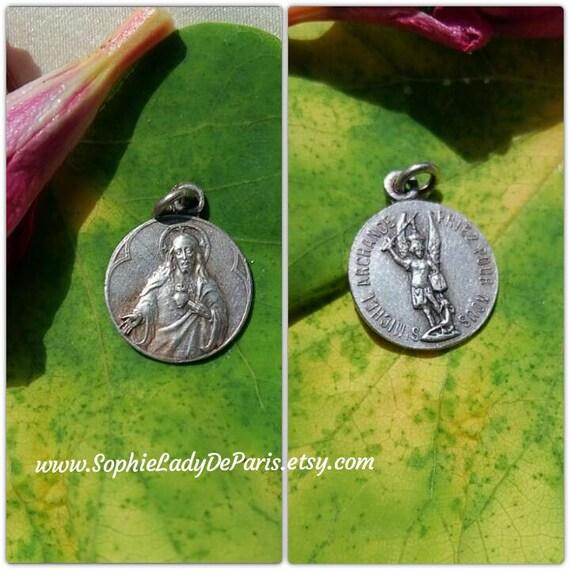 Heart of Jesus Medal Saint Michael Antique French Souvenir Silver Medal  #sophieladydeparis