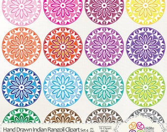 Colourful Hand Drawn Clip art Mandalas, Digital Clip art, Indian Clipart, Rangoli, instant download