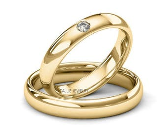 His and Hers  Matching Wedding Rings,10k Yellow Gold Diamond Wedding Bands,Dome Shiny 4mm Mens Womens Wedding Bands