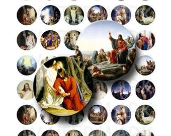SALE- Carl Bloch - Paintings of Jesus - Digital Collage Sheet  - 1 inch Round Circles - INSTANT DOWNLOAD