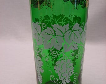 One Anchor Hocking Vintage Gold and White Grapes Tumbler Glass Forest Green